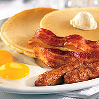 pancakes eggs bacon